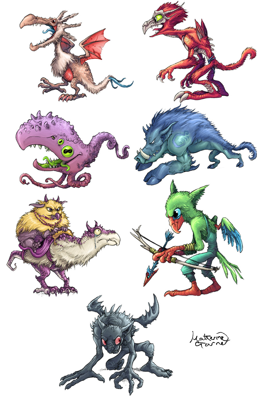 Monster designs by Katherine Garner