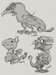 Baby dragons and crow monster bird