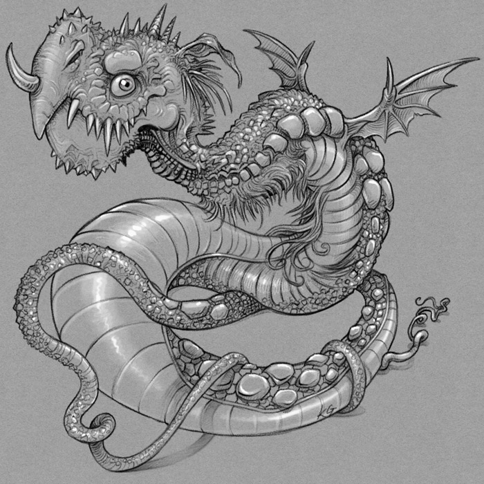 Wrym dragon monotone sketch