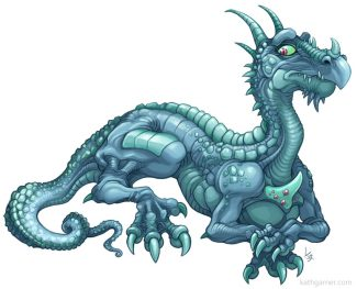 Blue wingless dragon