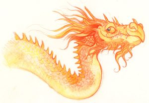 watercolour pencils dragon sketch