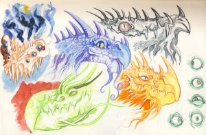 watercolour pencils monsters and dragons