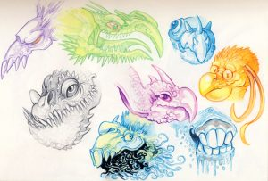 monsters and strange things watercolour pencils