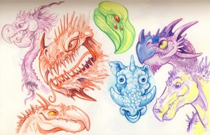 warthog aliens dragons watercolour pencils