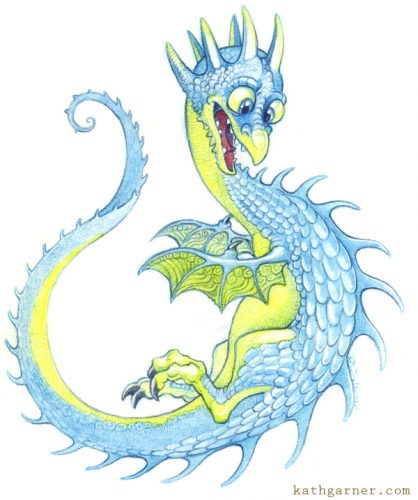 Blue and yellow dragon
